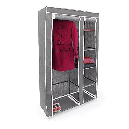 Relaxdays modello valentin xl armadio pieghevole grande, tessuto, antracite