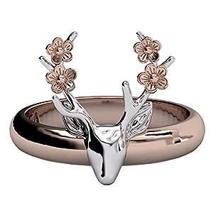 EVBEA Rosegold hirsch Ring Gravur Rentier Geweih Ringe groß Statement schmuck mit Blumen für Mädchen