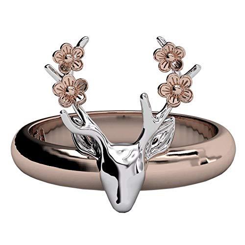 Rosegold hirsch Ring Gravur Rentier Geweih Ringe groß Statement schmuck mit Blumen für Mädchen - Schmuck Große