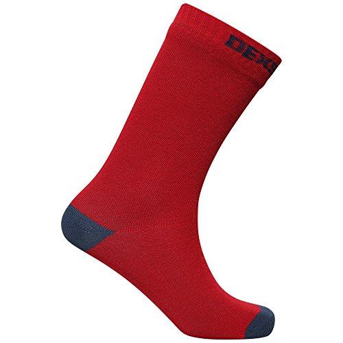 Dexshell Herren Ultra Thin Bamboo Waterproof Socken, Rot/Marineblau, m