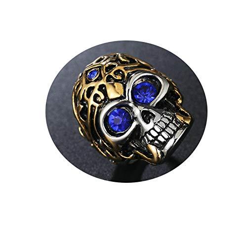 Daesar Edelstahl Herren Ringe Silber Gold Totenkopf mit Blau Augen Zirkonia Männer Ring Partnerringe Größe 54 (17.2) (Ring Hochzeit Buchsbaum)
