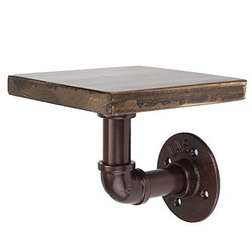 KING DO WAY Retro-Wandregal im Industrie-Stil mit rustikalem Holz und Temperguss-Rohr bronze