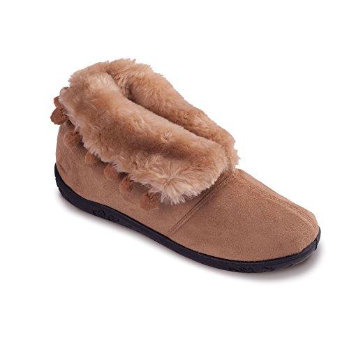 Padders Femmes Chausson en Microsuède 'Eskimo' | Avec fausse fourrure doublure pour les nuits froids | Extra Grande Taille EE | Talon 20mm | Avec Chausse-Pied Gratuit Taupe / Camel