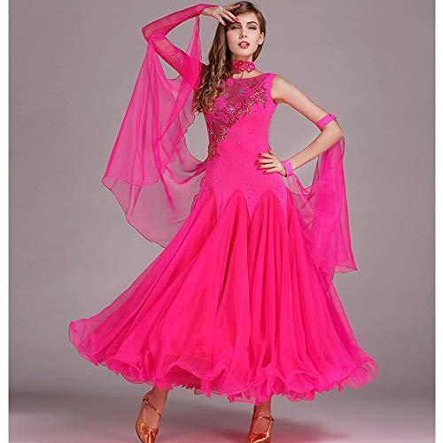 Damen Classic Dance Wettbewerb Frauen Latin Dance Kostüme Bauchtanz Rock Pink Handgefertigte Pailletten Tango Ballroom Dancing Kleidung Fischschwanz Kleid XL 2XL,L