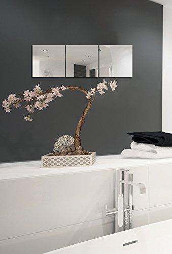 MSV Spiegel Spiegelfliesen Wandspiegel Fliesenspiegel selbstklebend 3 Stück - 30x30cm (Stück Verspiegeltes Schlafzimmer-set 3)