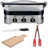 Cuisinart gr-4N Griddler acero inoxidable parrilla/plancha y Panini prensa + funda de nailon pinzas + Kit de accesorios