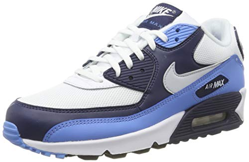 Nike Air MAX 90 Essential, Zapatillas de Gimnasia para Hombre, Blanco (White/Pure Platinum/Univ Blue/Midnight Navy 105), 38.5 EU