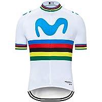 SUHINFE Maillot Ciclismo con Banda Elástica, 3 Bolsillos Traseros, Malla Transpirable y Cremallera Completa, M-WT, M