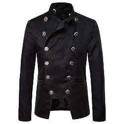 Realde Herren Mantel Steampunk Gothic Jacke Retro Vintage Viktorianischen Cosplay Kostüm Jacke Uniform Mittelalter Kleidung Jacke Herbst und Winter Dünne Kurze Windbreaker