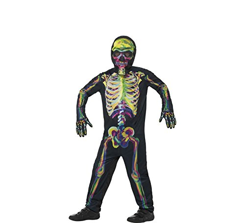 Smiffys, Kinder Unisex Skelett Kostüm, Leuchtet im Dunkeln, Ganzkörper Anzug, Maske und Handschuhe, Alter: 7-9 Jahre, 45124