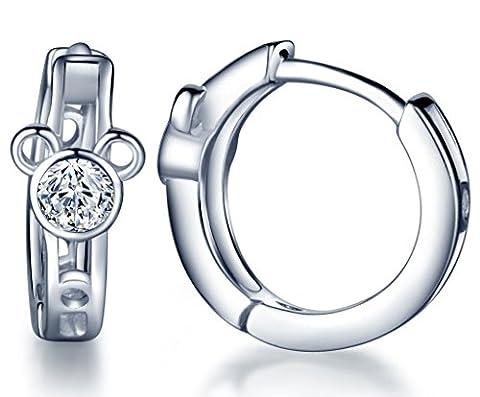 Infinite U Fashion Lovely Bear 925 Sterling Silver Hoop Earrings for Women/Girls