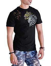 Sketch Lion Stylish Hand Printed T-Shirt- Round Neck Tiger Print Print T-Shirt For Men-Black