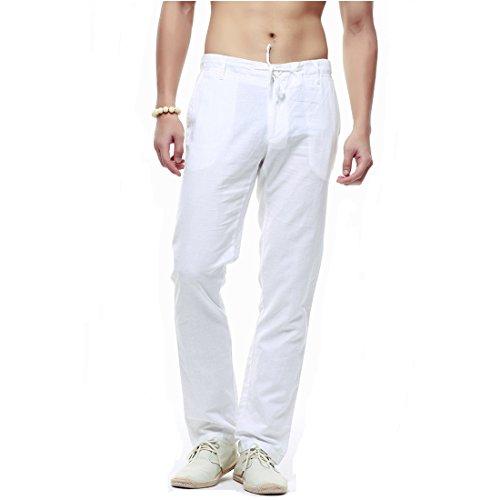 crazyplayer Sommer Leinenhose Chinohose für Herren Herren Arbeitshose in Leichter Qualität Straight Fit in weiß schwarz Khaki blau