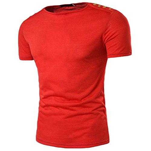 ZhiYuanAN Sommer Kurze Ärmel T-Shirt Für Männer Normallack Wild Hemd Tee Tops Casual Schlanke Passform Shirt Rot