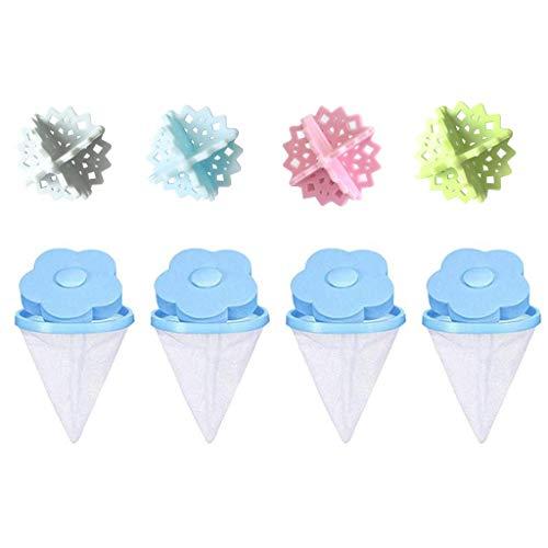 MiMiey Waschmaschine Filter Reinigungswerkzeuge Universal Schwimmerfilterbeutel Waschmaschine Abwasserpumpen Flusensiebe Woll Reinigungsmittel (Blau(4 Filter + 4 Wäschebälle))