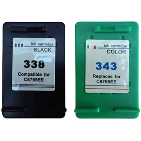 Daryo Cartouche Deal Juego de 2 cartuchos de tinta genéricos compatibles con HP338 HP343 PSC 1500 1510 1510S 1513 1545 1600 1610 1613 2300 2350 2355 2610 3180 HP 338 HP 343