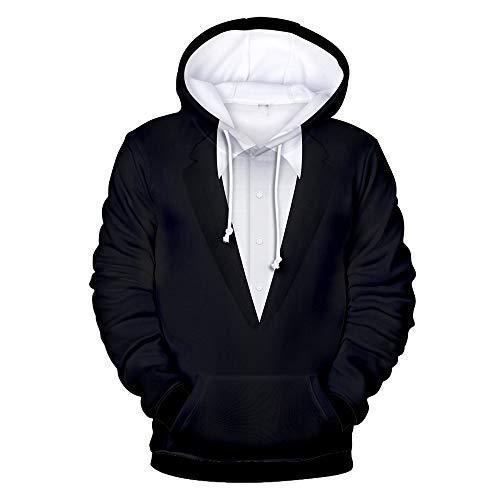 SALEBLOUSE Mode Herren Männer T-Shirt Kurzarm Shirts 3D Gefälschte Zweiteilige Druck T-Shirt Casual Sweatshirt Freizeitshirt Tops Herren Kapuzenpullover Sweatshirt Sweatjacke Hoodie Kapuzenjacke