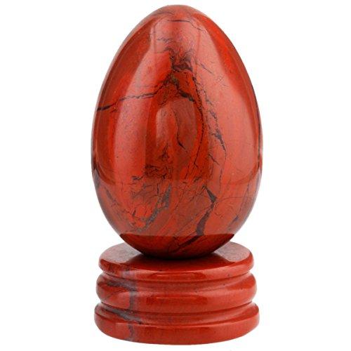 mookaitedecor Roter Jaspis Kristall Ei Oval Kugel mit ständer, Edelstein für Heilung Reiki Chakra und Familie Dekoration Schmückung, ideales Geburtstagsgeschenk