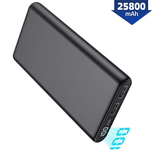 Pxwaxpy Powerbank, Externer Akku 25800mAh 【Neu Kompakt LCD Digitalanzeige】 Hohe Kapazität Akkupack mit 2 Output USB Schnellladung Externes Ladegerät für Handy, Tablet