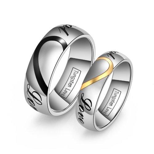 JewelryWe Schmuck 1 Paar Wolfram Wolframcarbid LOVE Herz Partnerringe Freundschaftsringe Eheringe Trauringe Verlobung Ringe Band, Schwarz Gold Silber
