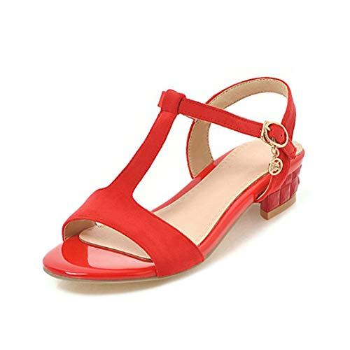 Frauen Quadratische Ferse Sandalen Sommer Med Ferse Knöchel Schnalle Peep-Toe Slingback Schuhe Hochzeit Büro Damen T-Strap Pumps -