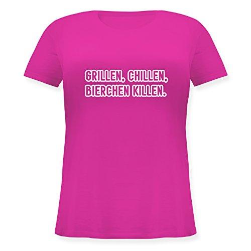 Grill - Grillen, chillen, Bierchen killen - Lockeres Damen-Shirt in großen Größen mit Rundhalsausschnitt Fuchsia