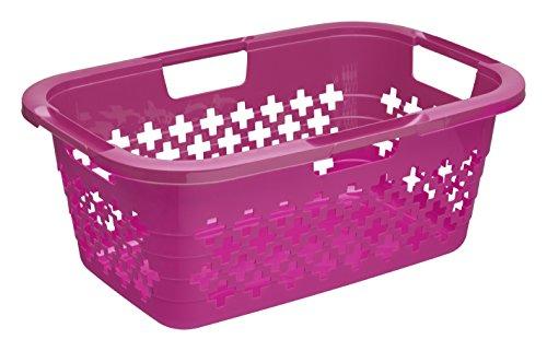 Rotho Wäschekorb Sunshine, Plastik, Pink,  60x40x24 cm