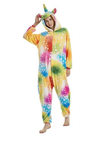UMIPUBO Pijamas Unisexo Adulto Cosplay Traje Disfraz Adulto Animal Pyjamas Ropa de Dormir Halloween y Navidad Franela (XL:177-185cm, Estrella)