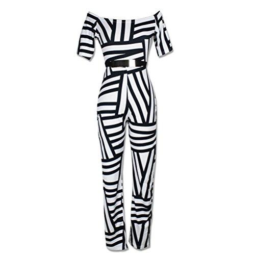 Brinny Sexy manches courtes imprimés Bodycon Party Clubwear Combinaisons de grenouillères des femmes 5 Couleur 4 tailles: S-XL Noir & Blanc