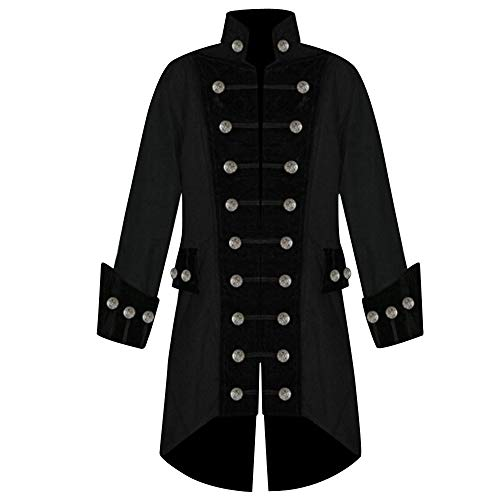Frauen Langarm gedruckt Trim Button Up Cape unregelmäßigen Frack Outwear Mantel - Fashion Mantel Steampunk Retro (Maskenball Kostüme Plus Größe)