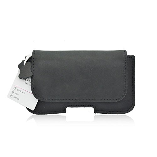 Echt Leder Gürteltasche in Schwarz für Apple IPhone 5 / 5S / 5C Quer-Handytasche mit Gürtelschlaufe und Magnetverschluss Matt-Look (Gürtelschlaufe Matt)