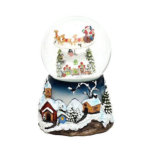 Dekohelden24 XXL Schneekugel mit Rotierung, Schneewirbel und Sound, Maße H/B/Ø Kugel: ca. 19,5 x 13,5 cm/Ø 12 cm. -