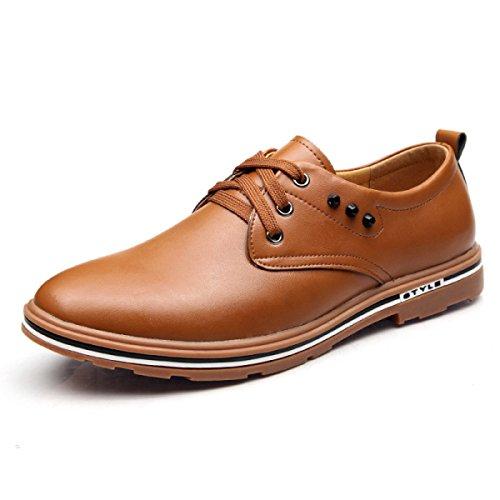 GRRONG Herrenlederschuhe Freizeit Mode Brown Brown qaHHRfa