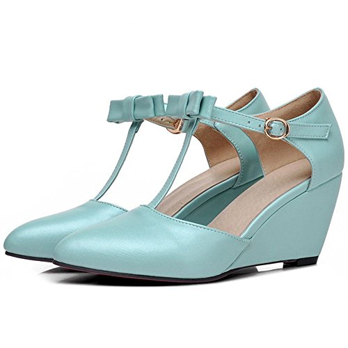 COOLCEPT Damen Sweet T Strap Ladies Dress Keilabsatz Pumps mit Bogen Blau