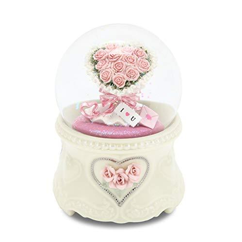 Spieluhr Kristallkugel Valentinstag Hochzeitsfest Blumen Geschenke Spieluhr Familie Handwerk ( Color : White , Size : 10CM )