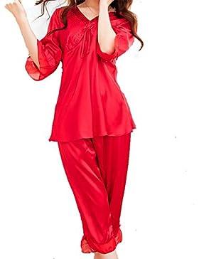 YUYU Casa di seta con scollo a v Ladies vestiti pigiama manica corta rosso , l , red