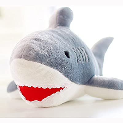 CosCosX 1 Pcs 20 inches Shark Plush Toy, Stuffed Animal Pillow Soft Dolls, Grey