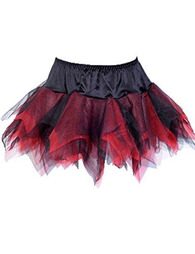 Rot Tutu Schwarz Und Kostüm - Yummy Bee Tutu Rock Burleske Halloween Kostüm Damen Größe 34-56 (Schwarz + Rot, 48)