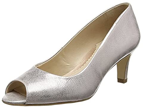 Van Dal Norton, Damen Peeptoe Ballerinas,Silber/Rose Gold, 39
