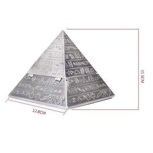 Max & Mix Creative Fashion Pyramide Aschenbecher Aschenbecher mit einem Deckel von ASCHE R ¨ ¦ Tro Carving Tablett porte-rangement Bo? Te-Aufbewahrungsbeutel Home Decor Bar für Männer Raucher silber - 2
