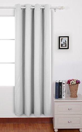 Deconovo Rideau Occultant à Oeillets 140x240cm Isolant Thermique pour Livingroom Blanc Pâle Gris
