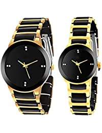 Unique Hunt Watch UH-F-Big-Small-BK-Gold-Combo Analog Watch For Boys And GILRS,Couple -Black-Gold