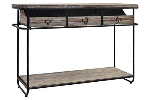 Indhouse Plat – Console Loft Style Industriel Vintage en métal et Bois