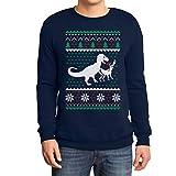 Regalo di Natale T-Rex vs. Renna Ugly Sweater Felpa/Maglione da Uomo Large Navy