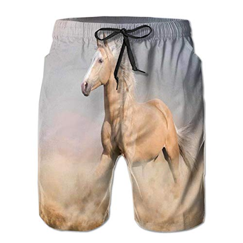 Power Cream Wash (jiger Men Swim Trunks Beach Shorts,Palomino Horse In Sand Desert with Long Blond Male Hair and Tail Power Wild Animal Cream,Quick Dry 3D Printed Drawstring Casual Summer Surfing Board Shorts XXL)