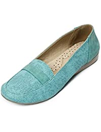 Meriggiare Women Green Synthetic Leather Loafers