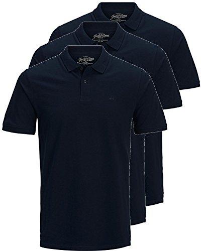 JACK & JONES 3er Pack Herren Poloshirt Slim Fit Kurzarm schwarz weiß blau grau XS S M L XL XXL Einfarbig Gratis Wäschenetz von B46 (3er Pack blau, XXL) - Blau Tennis Shirt