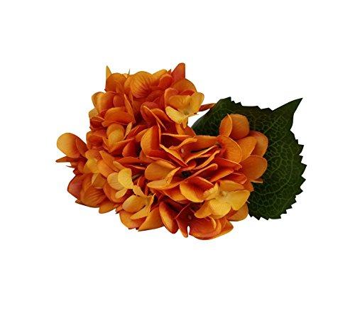 6 Stück künstliche Blume, Hortensie künstliche Real Touch künstliche Blumen Hochzeit Blumendekoration Dunkel Orange