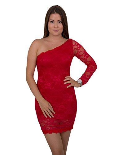 Sexy Designer Kleider (Sexy Designer One Shoulder Minikleid Asymmetrisches Abend-Kleid Dress mit Spitze in verschiedenen Farben)