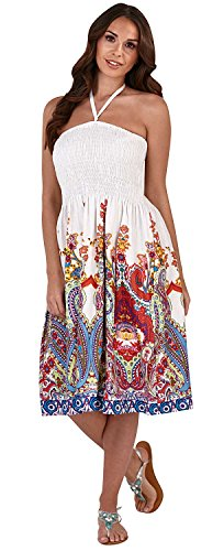Pistachio, Damen, Floral, 3in 1,Baumwolle, Sommer-Kleid, lila Gr. Large, White/Multi Paisley -